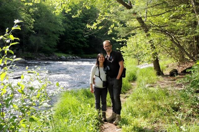 Eildert and Julia along the Neversink River in the Neversink Gorge.